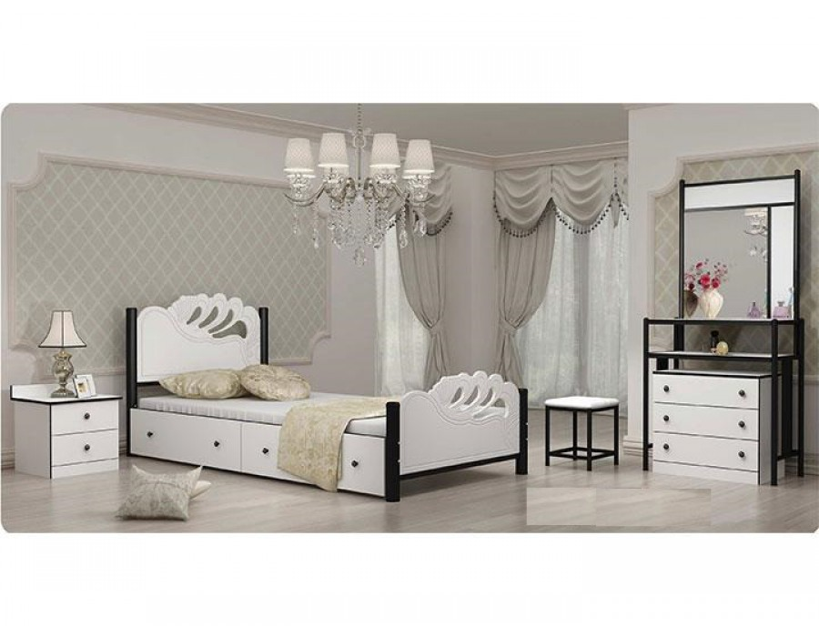 تخت خواب یکنفره چوبی فلزی عروس
