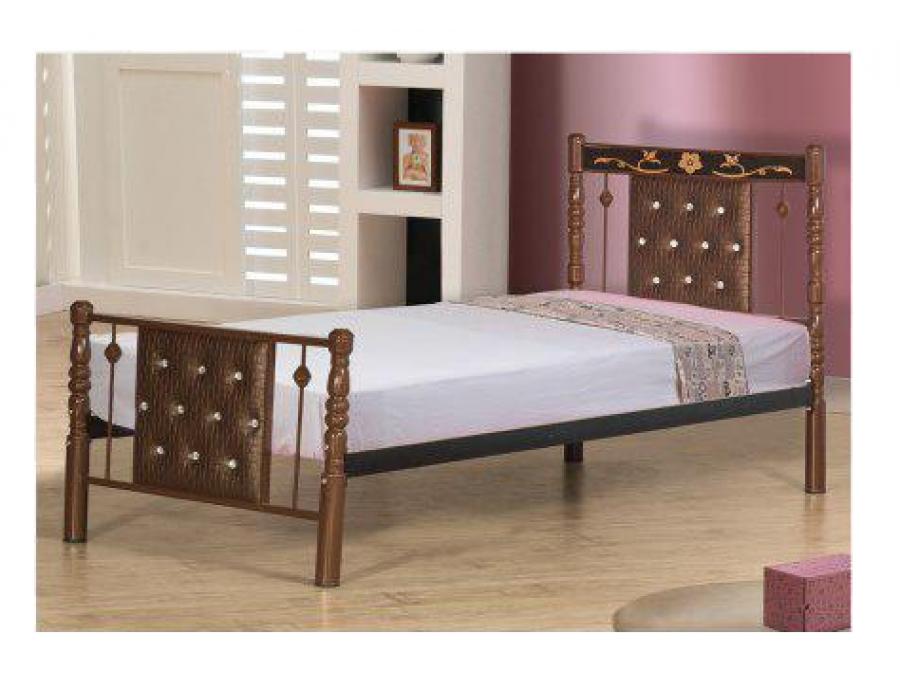 تخت خواب فلزی مدل پایه خراطی تاجدار