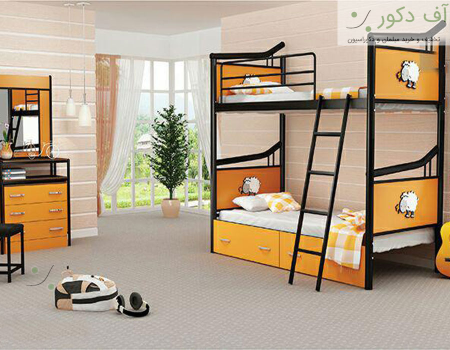 تختخواب دو طبقه مارکدار خم