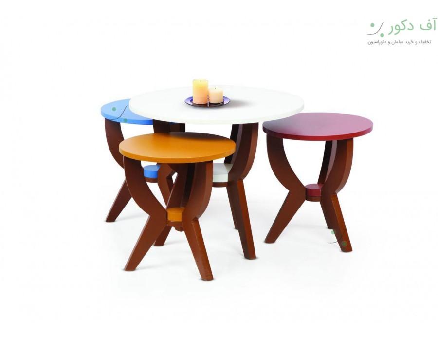 میز جلو مبلی و عسلی گرد چهار تکه