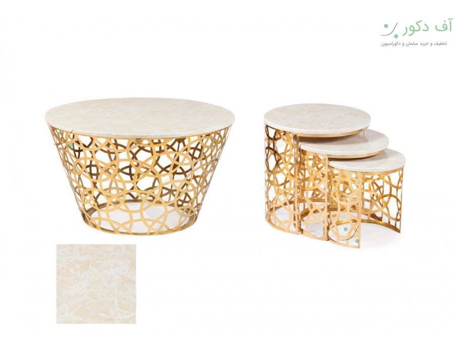 میز جلو مبلی و عسلی هندسی رنگ طلایی