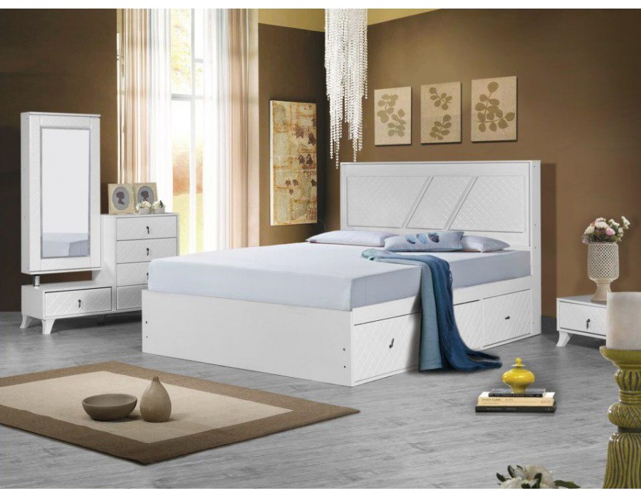 تخت خواب مدرن سفید سورنا