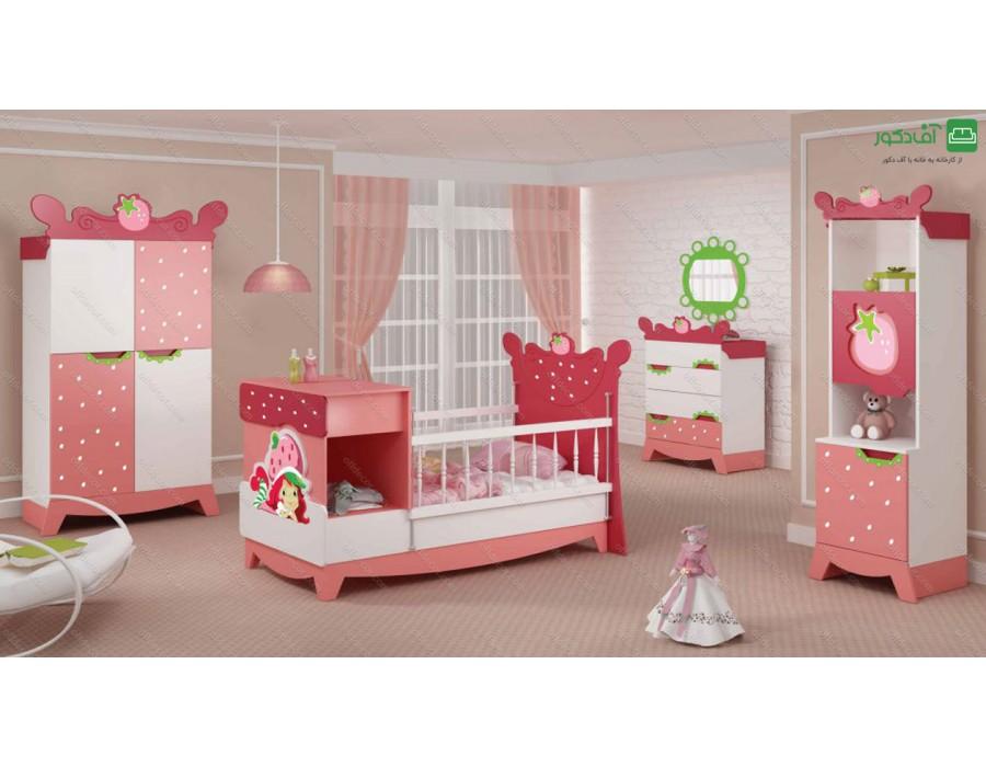 تخت خواب نوزاد نوجوان توت فرنگی