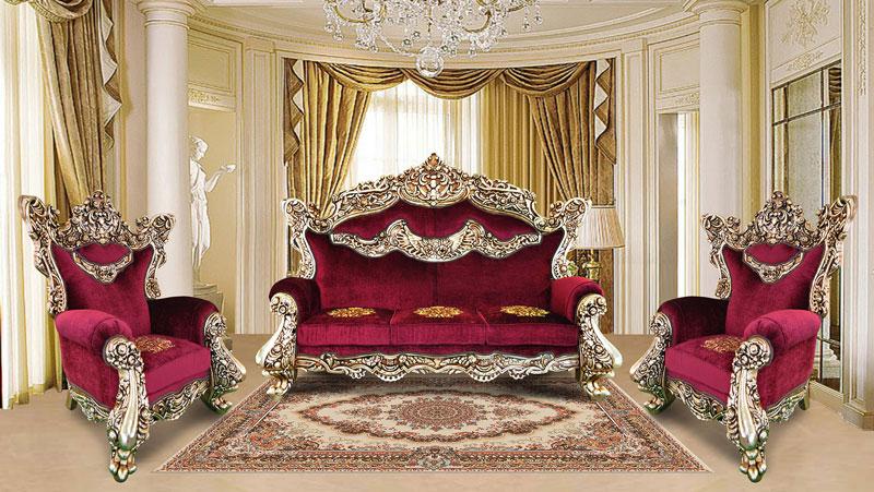 مبلمان سلطنتی جدید زرشکی و طلایی