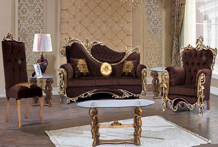 مبلمان سلطنتی جدید قهوه ای طلایی