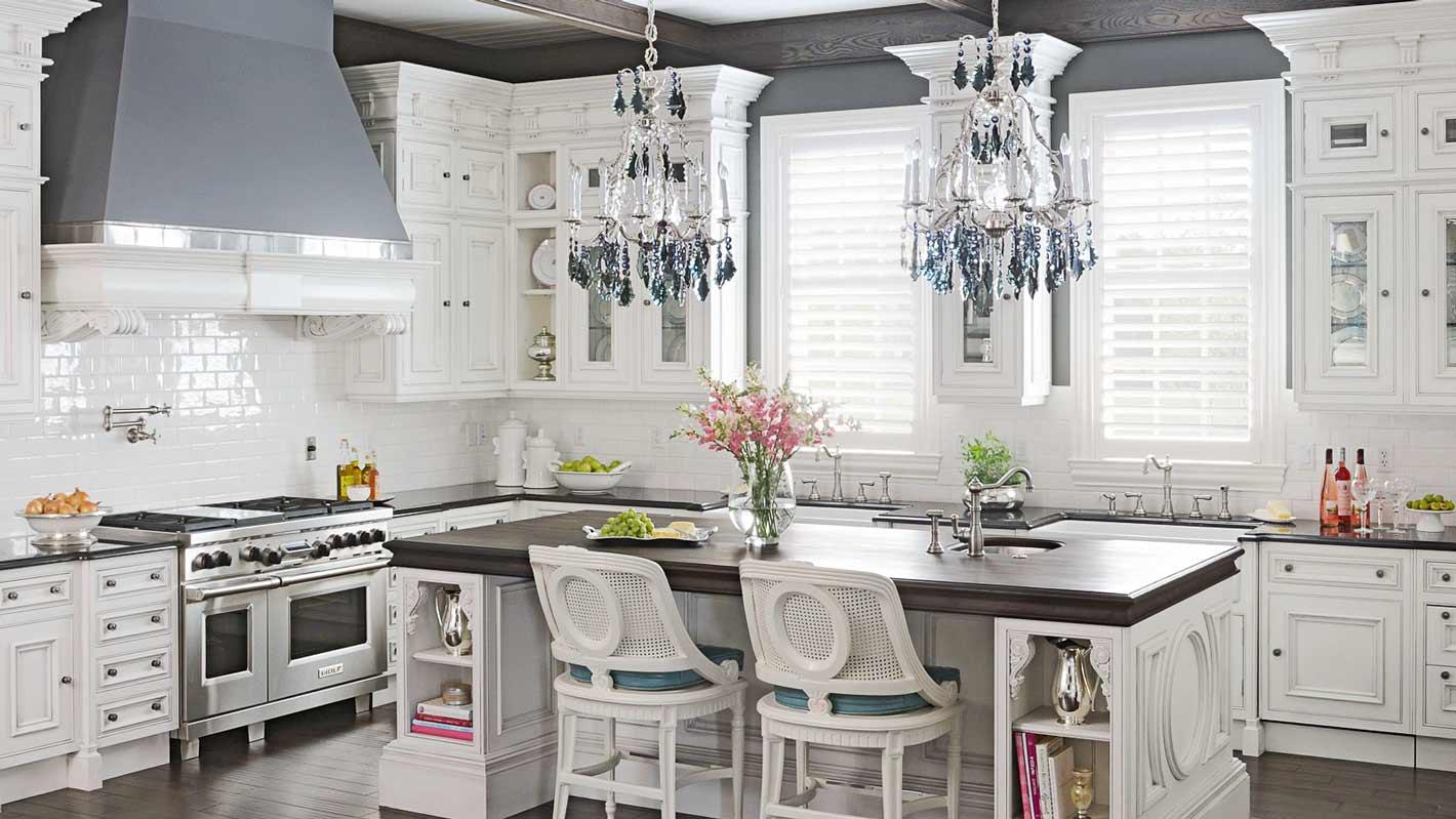 کابینت سفید آشپزخانهجزیره آشپزخانه کلاسیک چوبی ام دی اف