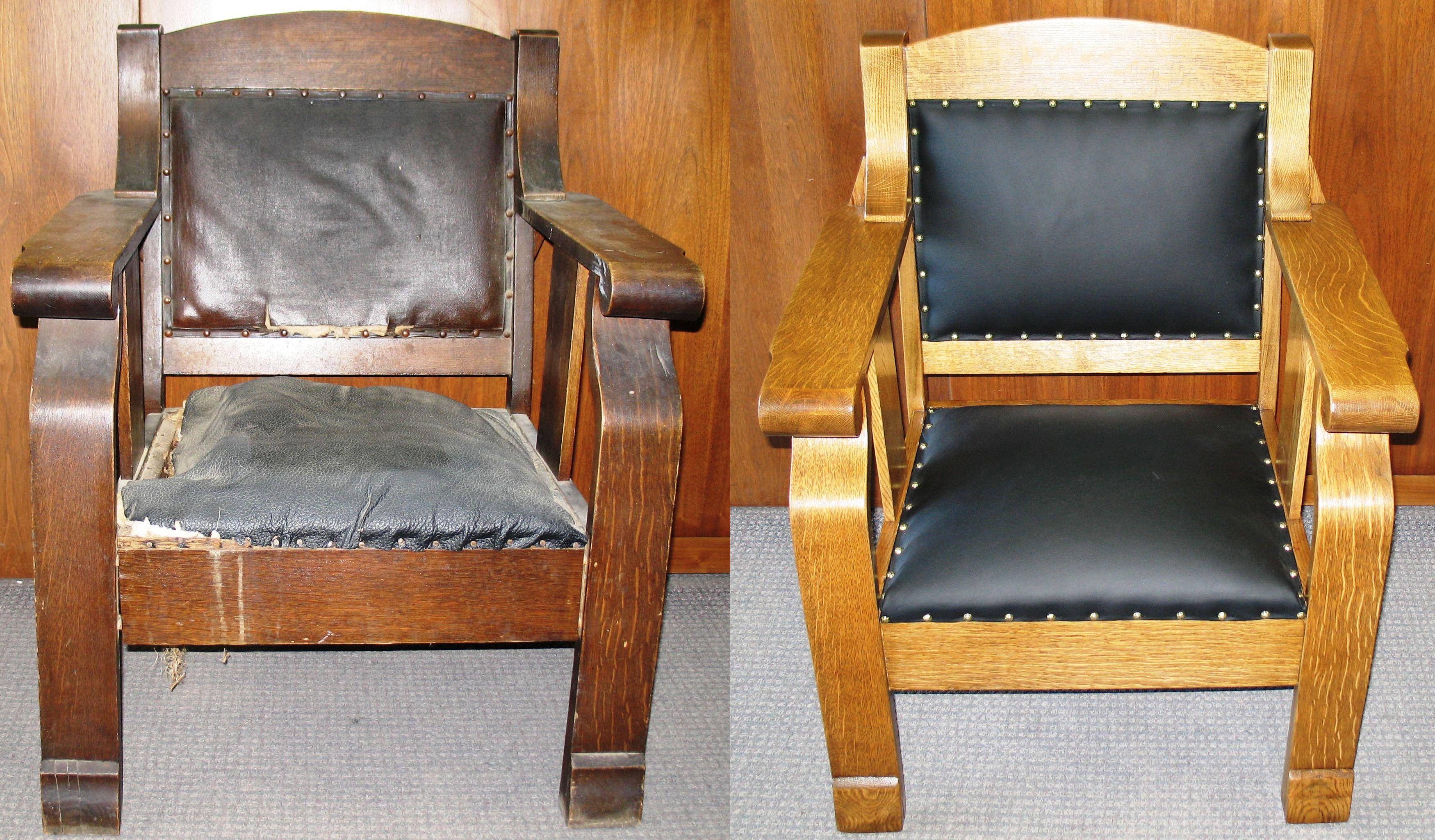تعمیر صندلی چوبی مبل چوبی چرمی قدیمی