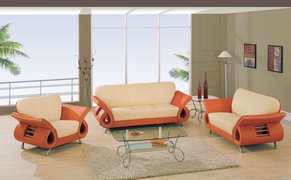 مبل راحتی ال پارچه ای نارنجی کرمی شیشه ای استیل