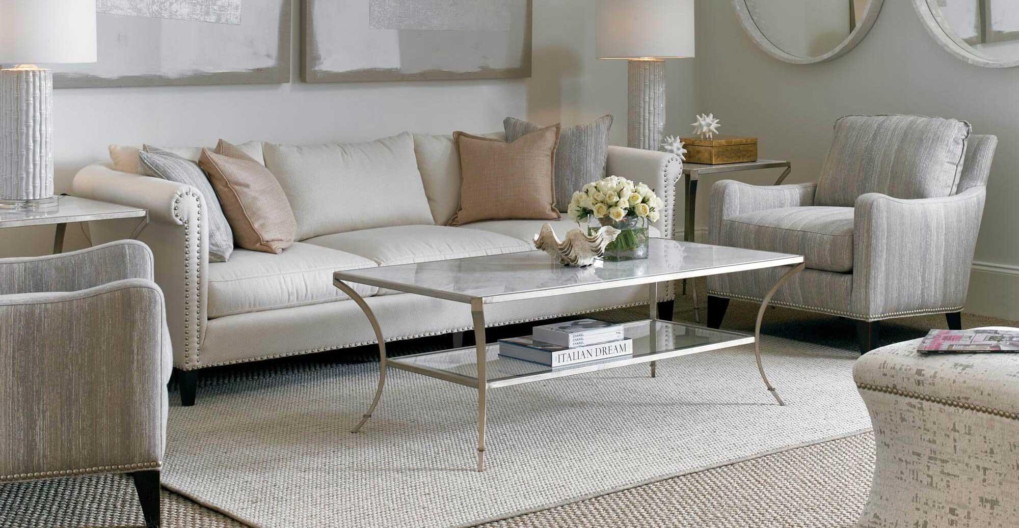 مبل راحتی پارچه ای توسی سفید آینه گرد دایره ای میز چلو مبلی استیل شیشه ای