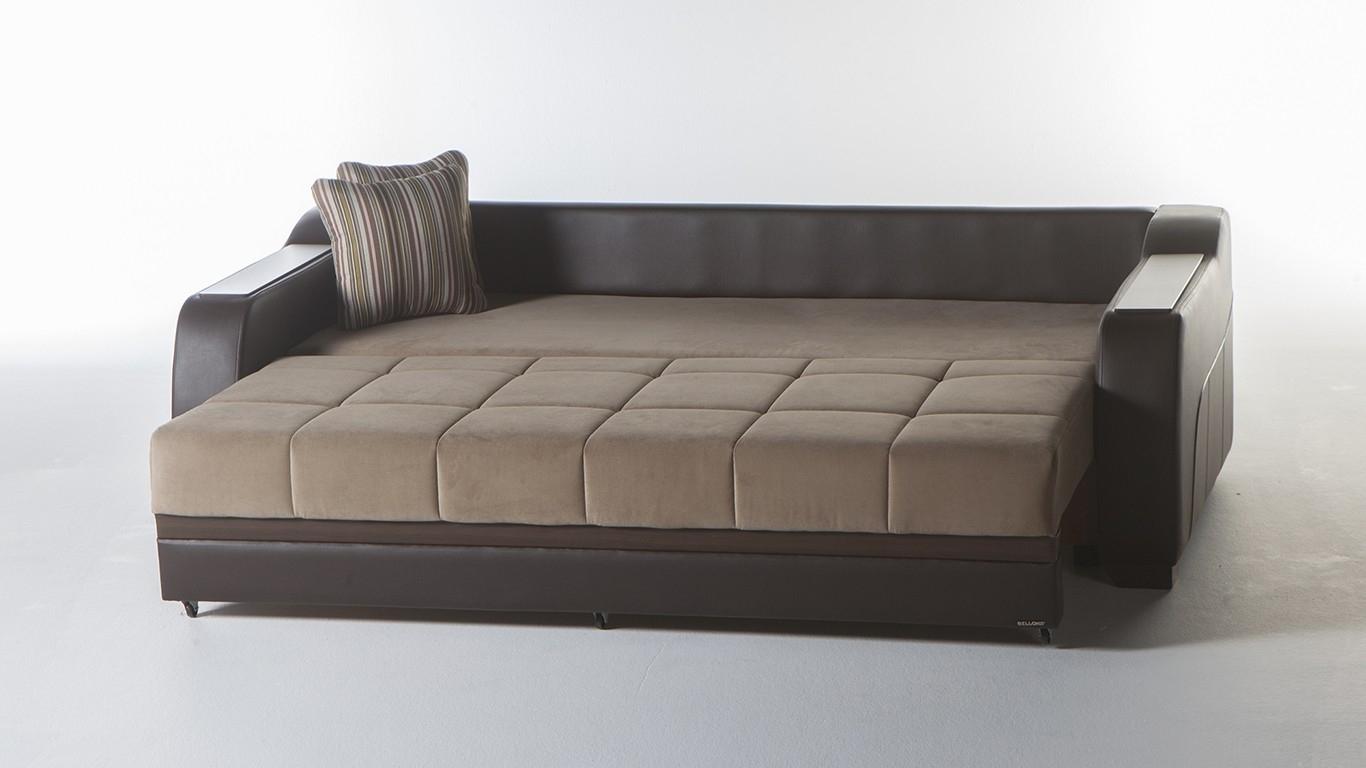 مبل راحتی تخت خوابشو چرمی قهوه ای کرمی