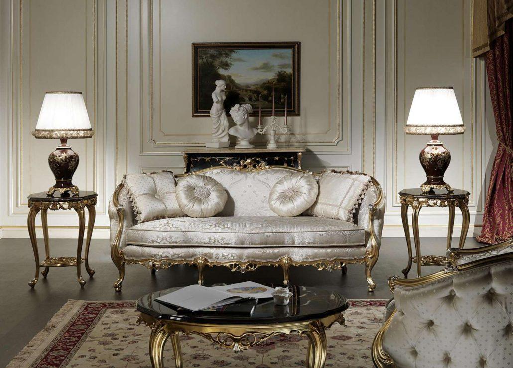 مبل سلطنتی طلایی توسی سفید میز جلومبلی سلطنتی طلایی