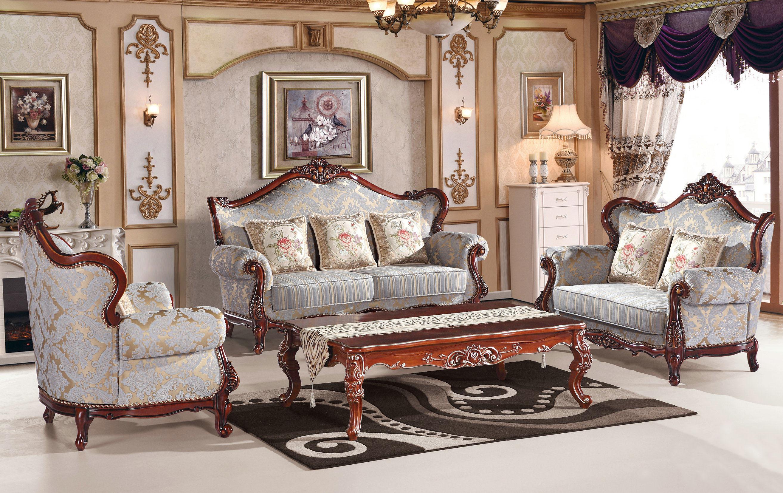 مبل استیل کلاسیک چوبی قهوه ای پارچه ای آبی طرحدار کاغذ دیواری پذیرایی