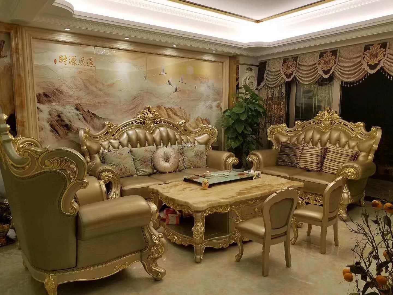 مبل سلطنتی کلاسیک چرمی طلایی