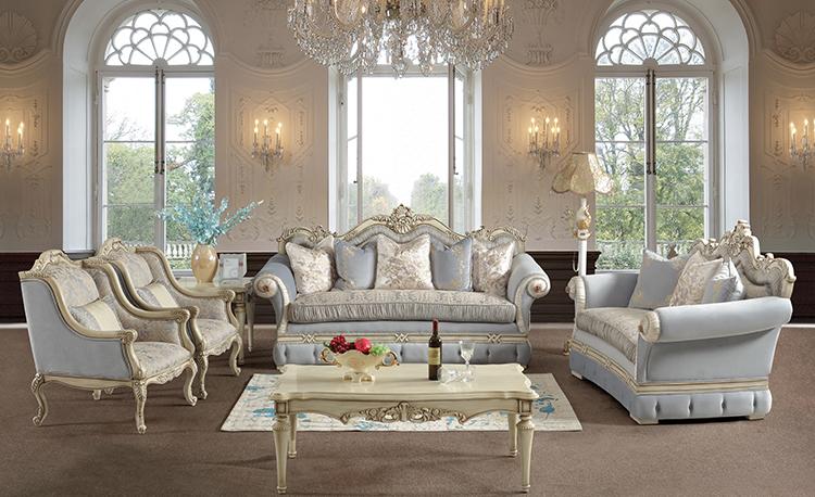 مبل سلطنتی استیل کلاسیک سفید کرم آبی طرحدار آباژور پذیرایی ایستاده لوستر
