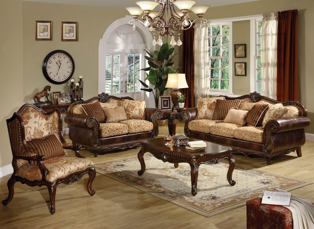 مبل سلطنتی استیل کلاسیک قهوه ای کرم چرمی پارچه ای طرحدار رنگ پرده لوستر میز جلومبلی چوبی