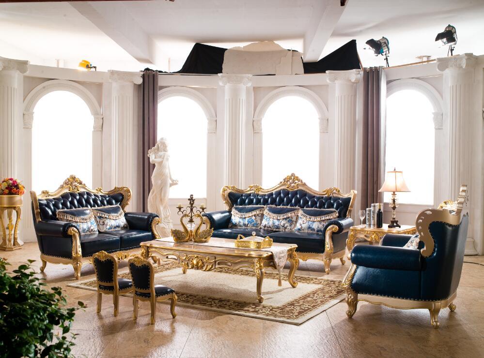 مبل سلطنتی کلاسیک استیل چرم آبی طلایی میز جلومبلی طلایی