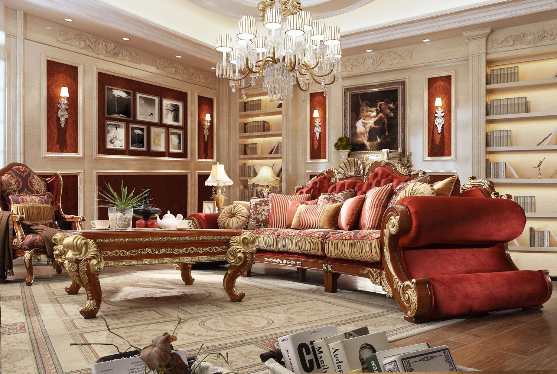 مبل کلاسیک سلطنتی استیل مخمل قرمز طلایی طرحدار راه راه