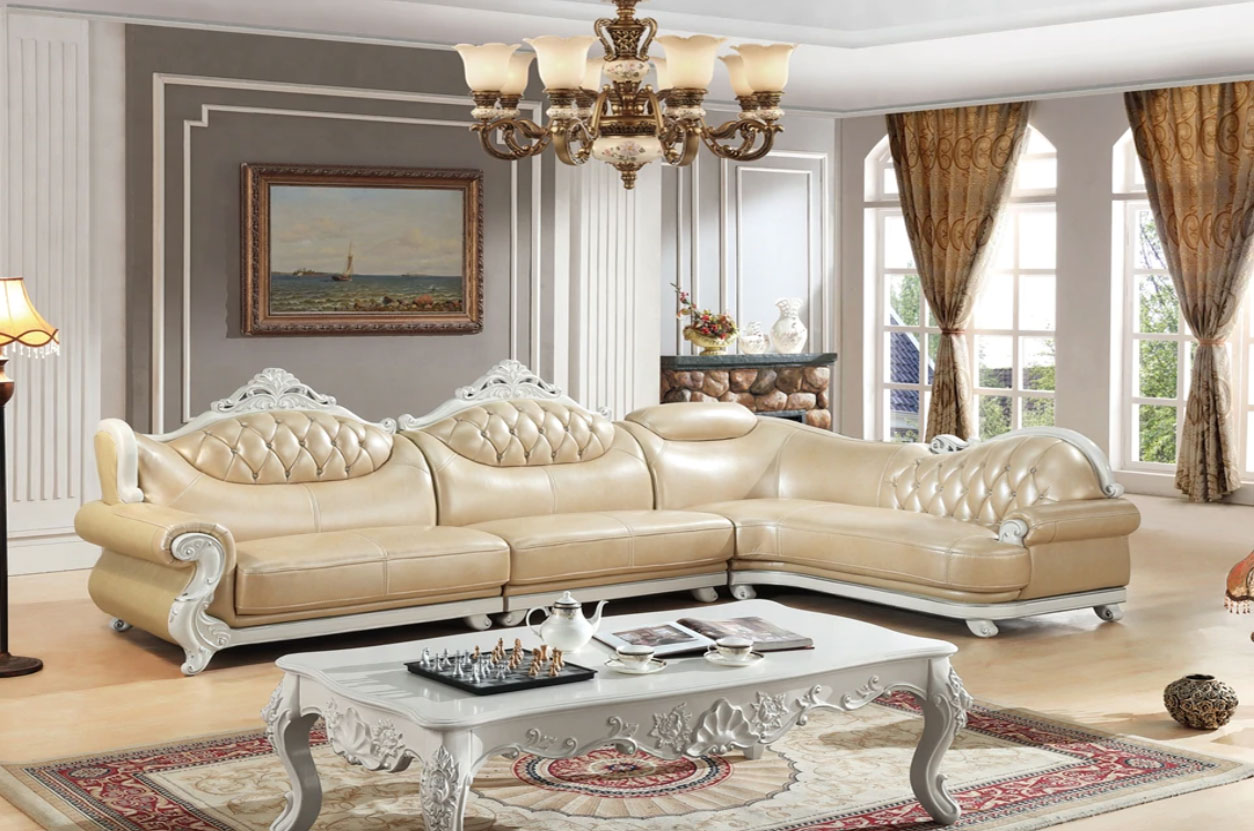 مبل ال سلطنتی استیل کلاسیک کرمی چوب سفید دکوراسیون سنتی لاکچری شیک
