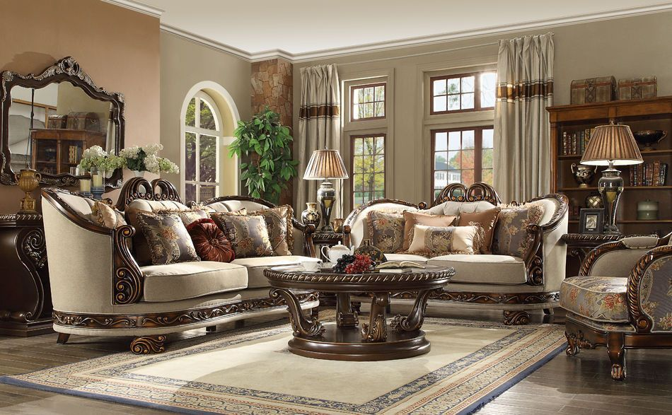 مبل سلطنتی کلاسیک استیل قهوه ای کرمی پارچه گلدار میز جلومبیل چوبی شیشه ای