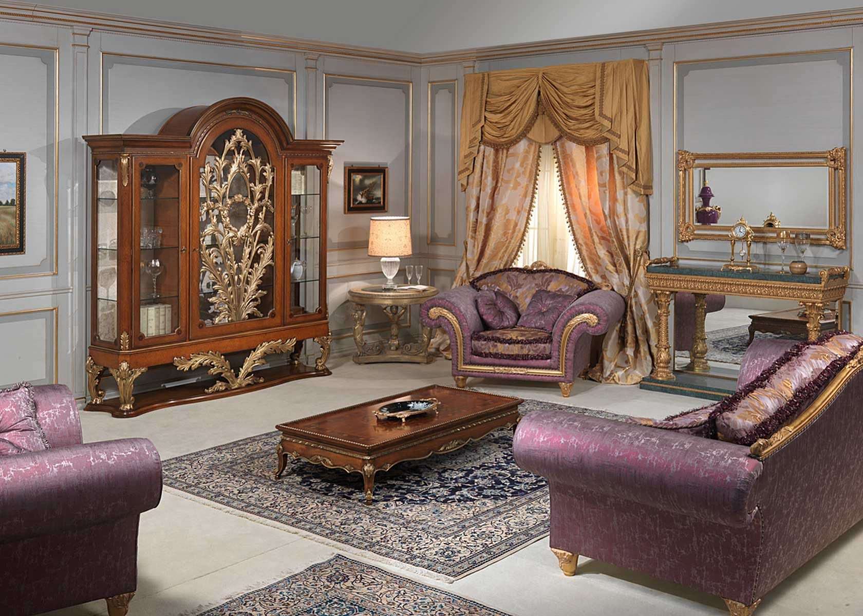 مبل استیل سلطنتی کلاسیک طلایی بنفش کنسول آینه سلطنتی