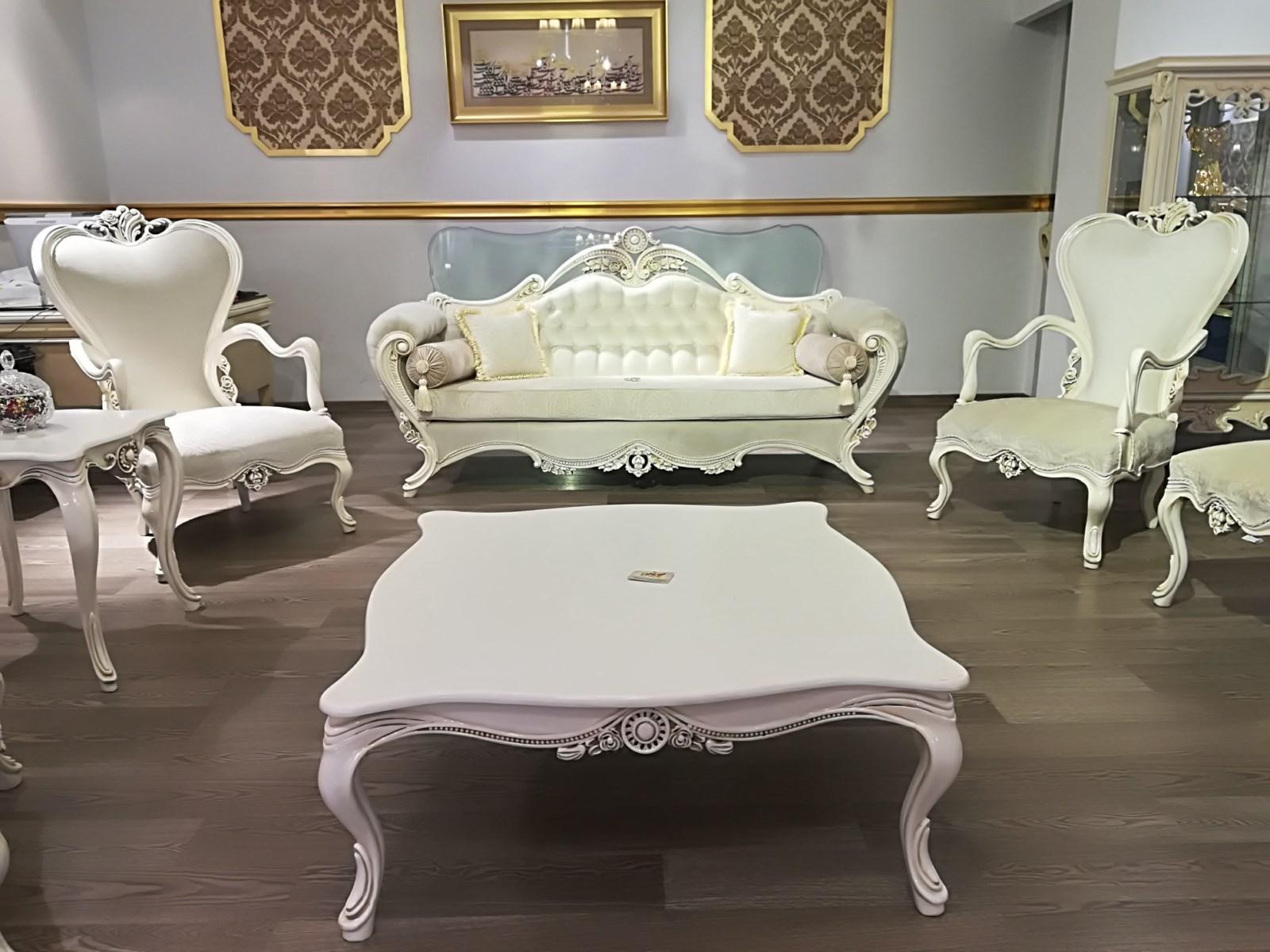 مبل سلطنتی استیل کلاسیک سفید پارچه ای بوفه چوبی سلطنتی سفید کرم