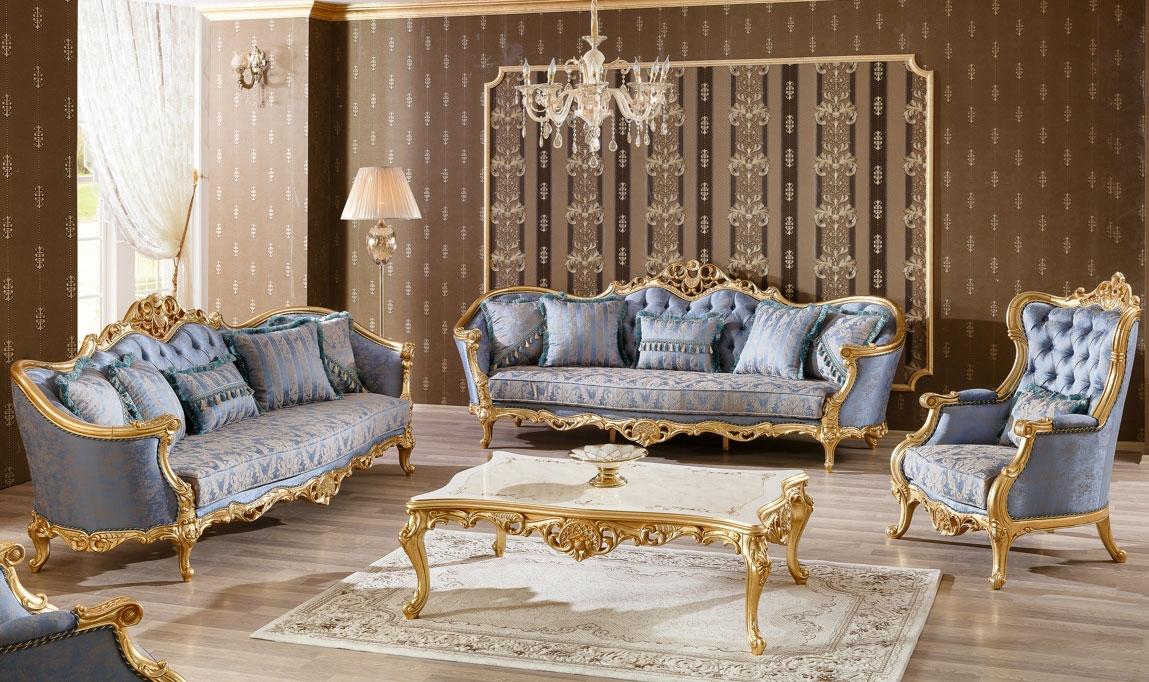 مبل استیل سلطنتی کلاسیک طلایی آبی طرح دار کاغذ دیواری پذیرایی قهوه ای