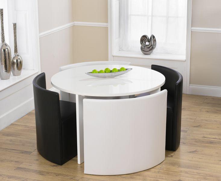 میز ناهارخوری کم جا کوچک چرمی سفید مشکی چوبی