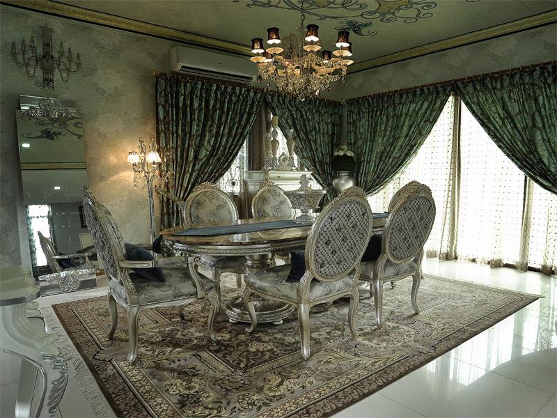 فرش در پذیرایی میز ناهار خوری چوبی سلطنتی نقره ای پرده طرح دار پذیرایی
