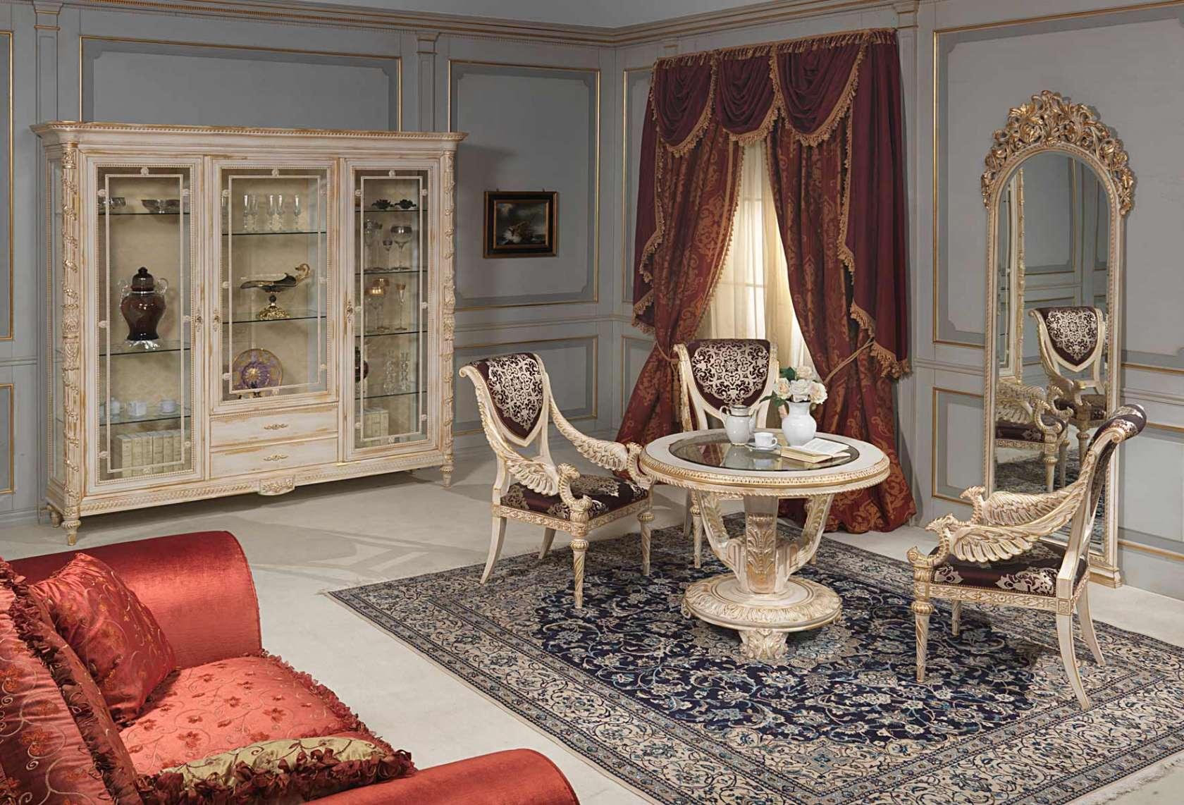 فرش در پذیرایی میز ناهار خوری چوبی کلاسیک سلطنتی