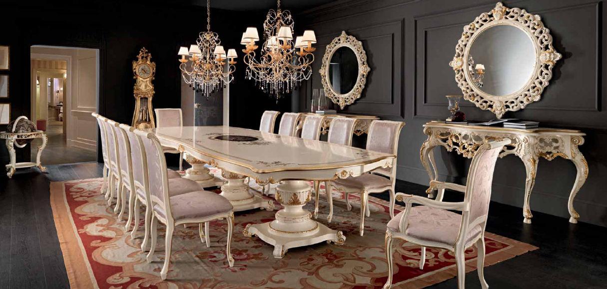 فرش در پذیرایی میز ناهار خوری چوبی سلطنتی کلاسیک سفید