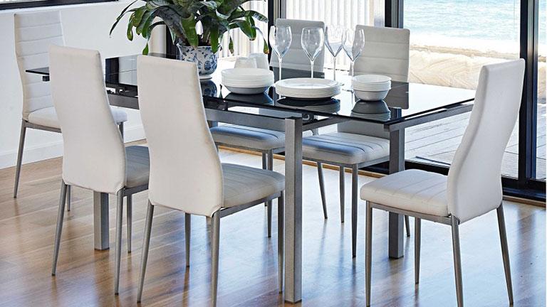 میز ناهار خوری چوبی آشپزخانه شیشه ای فلزی استیل