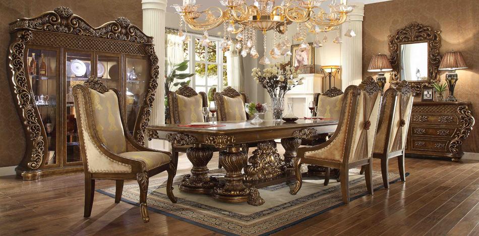میز ناهار خوری چوبی آشپزخانه سلطنتی کلاسیک پارچه ای کرم