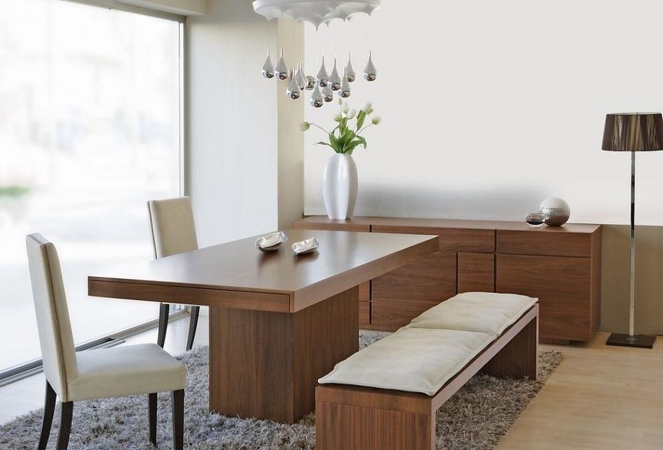 میز ناهار خوری چوبی آشپزخانه نیمکت دار صندلی روکش پارچه سفید