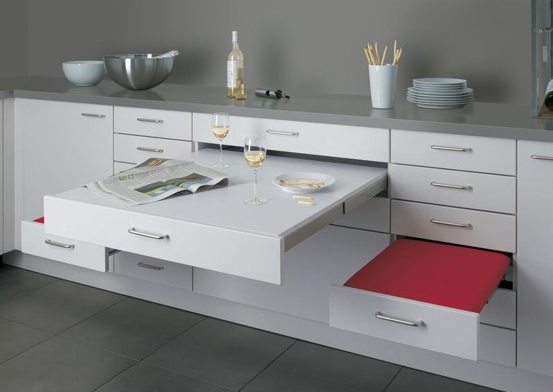 میز ناهار خوری چوبی آشپزخانه تاشو کشویی سفید