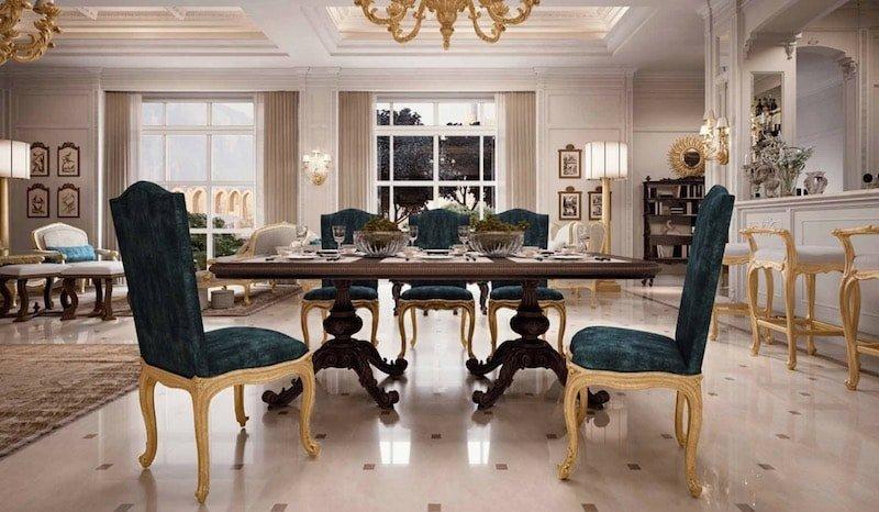 میز ناهار خوری چوبی آشپزخانه سلطنتی کلاسیک طلایی آبی