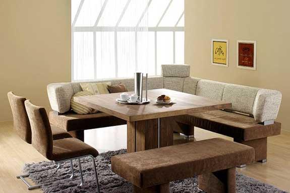 میز ناهار خوری چوبی آشپزخانه نیمکت صندلی روکش پارچه