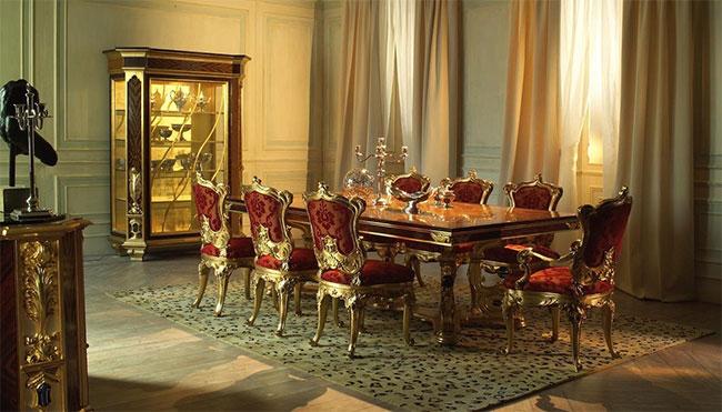 میز ناهار خوری چوبی آشپزخانه سلطنتی کلاسیک طلایی قرمز