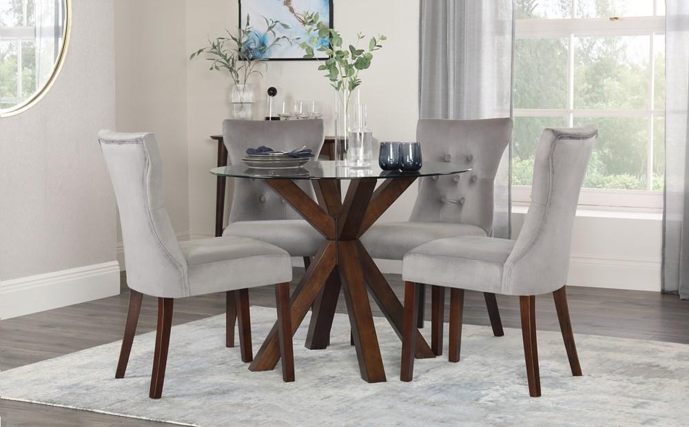 میز ناهار خوری چوبی شیشه ای صندلی با روکش پارچه ای سفید