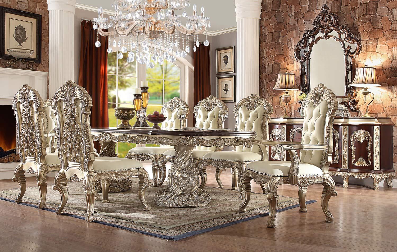 میز ناهار خوری سلطنتی کلاسیک نقره ای کرم سفید