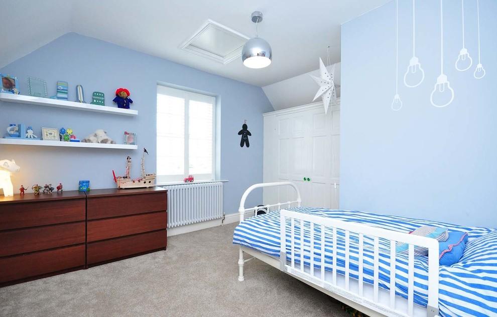 سرویس خواب نوجوان کودک دخترانه پسرانه چوبی آبی سفید
