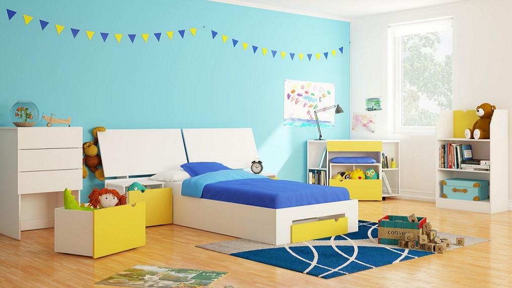 سرویس خواب نوجوا کودک دخترانه پسرانه آبی زرد