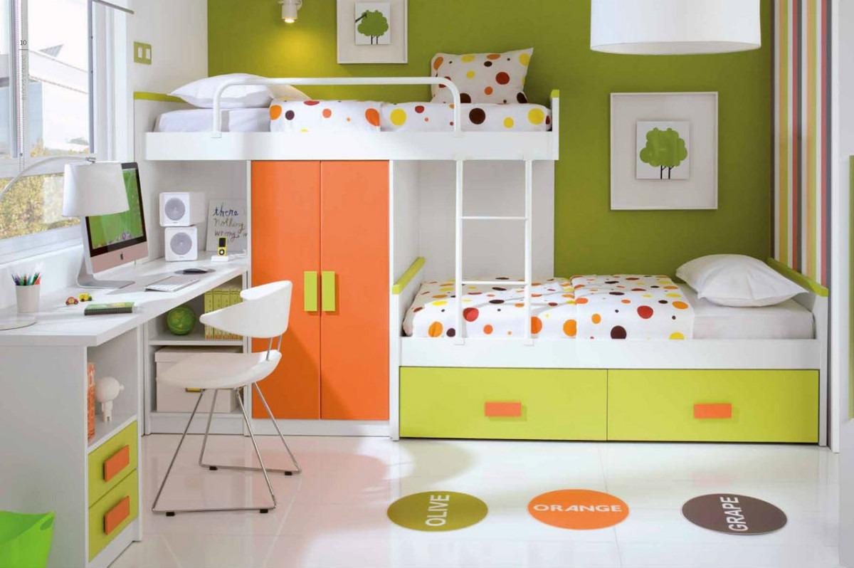 سرویس خواب نوجوان سبز نارنجی دکوراسیون اتاق خواب کودک دخترانه پسرانه