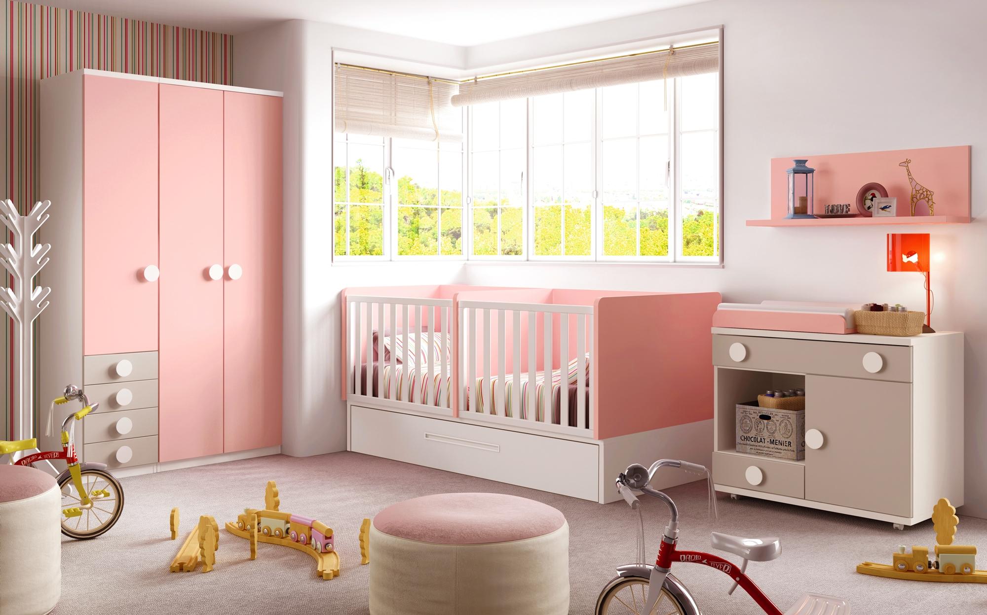 سرویس خواب نوزاد نوجوان کودک صورتی سفید دکوراسیون اتاق خواب دخترانه پسرانه