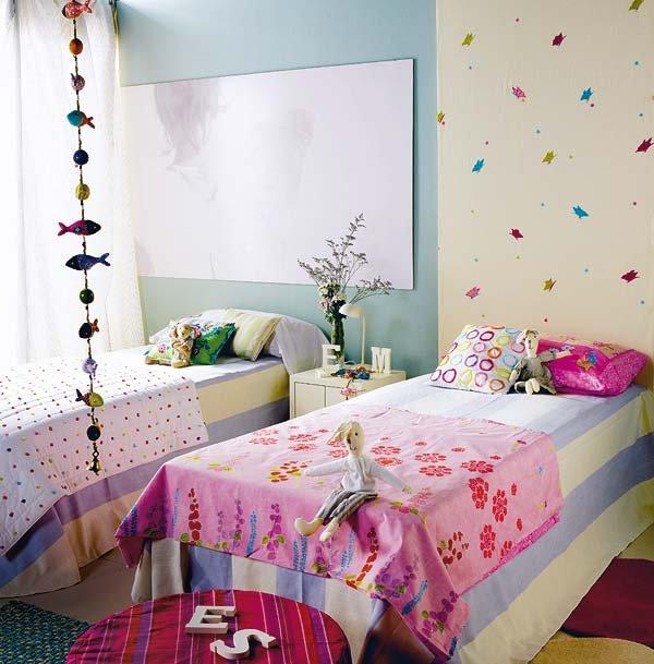 دکوراسیون اتاق خواب کودک با تخت خواب،پسر،دختر