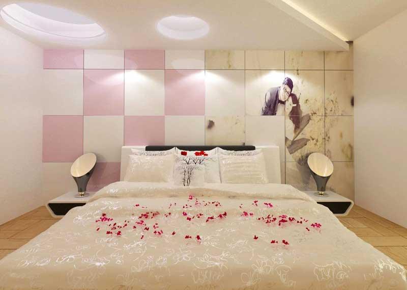 تزئین دیوار بالای تخت خواب نو عروس