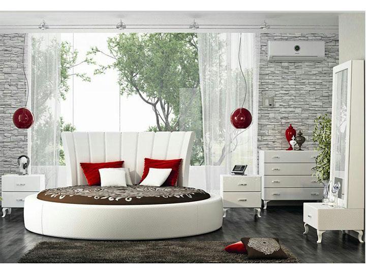 سرویس خواب سفید و قرمز دایره ای