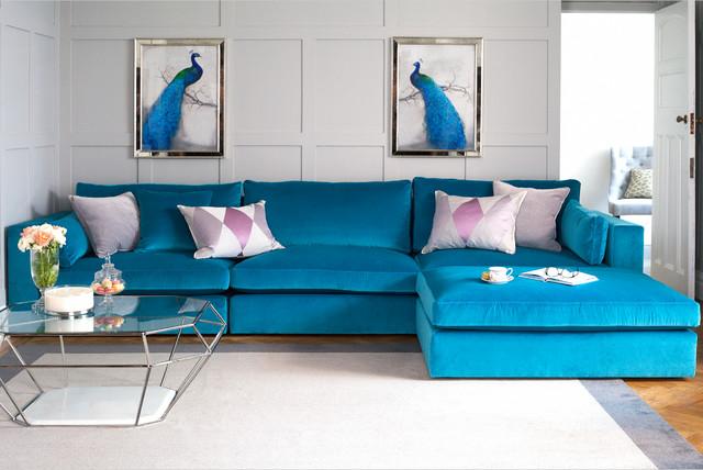 مبل راحتی ال پارچه ای آبی میز استیل شیشه ای
