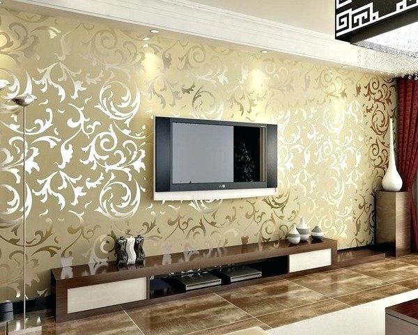 کاغذ دیواری پذیرایی طرح کلاسیک طلایی دیوار پشت تلویزیون پرده پذیرایی زرشکی