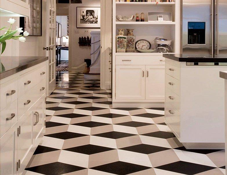 سرامیک آشپزخانه سه بعدی سفید و سیاه