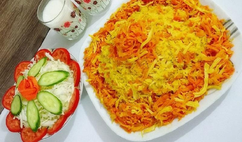 هویج پلو با مرغ